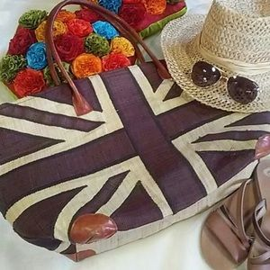 Straw Union Jack Beach Bag